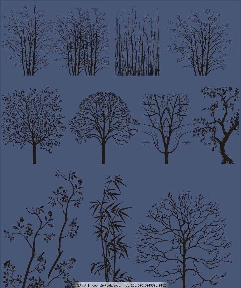 几款树木剪影图片 树木剪影 树木 剪影 树林 黑白 3d贴图 素材 材质