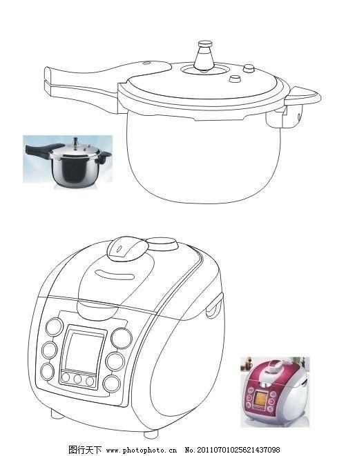 矢量厨具电饭煲压力锅图片
