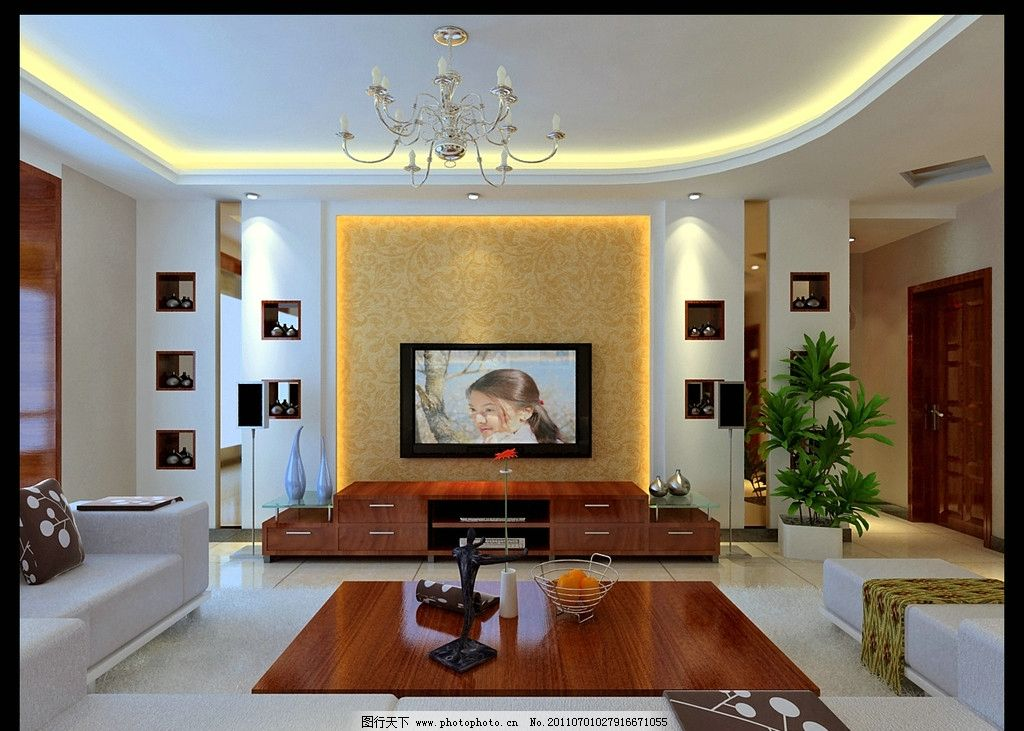 中式客厅效果图        室内效果图 吊灯 电视背景墙 背景墙 吊顶