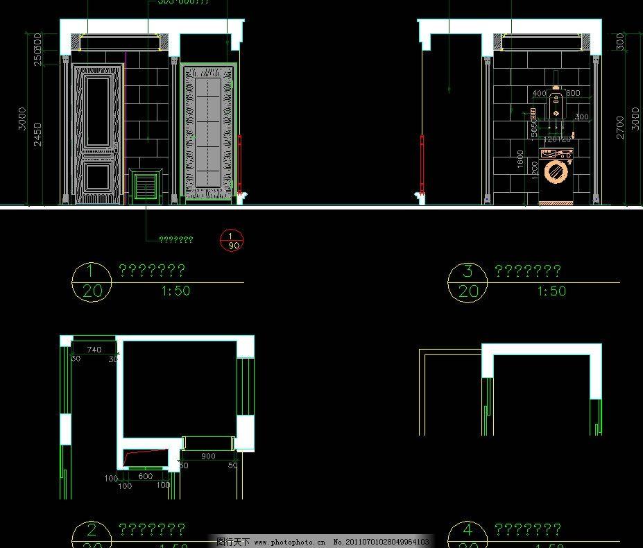 外阳台立面 cad dwg 图纸 平面图 素材 装修 装饰 施工图 室内设计 复