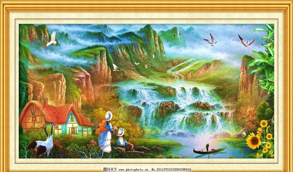 挂画 墙画 年画 飞鸟 建筑 仙鹤 蓝天 花草 树木 大路 林道 秋天 落叶