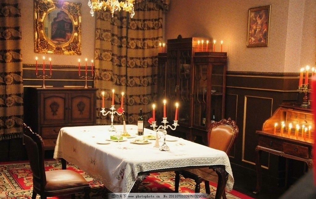 烛光 烛台 蜡烛 晚餐 西式 西餐 水晶吊灯 欧式家具 油画风格 浪漫