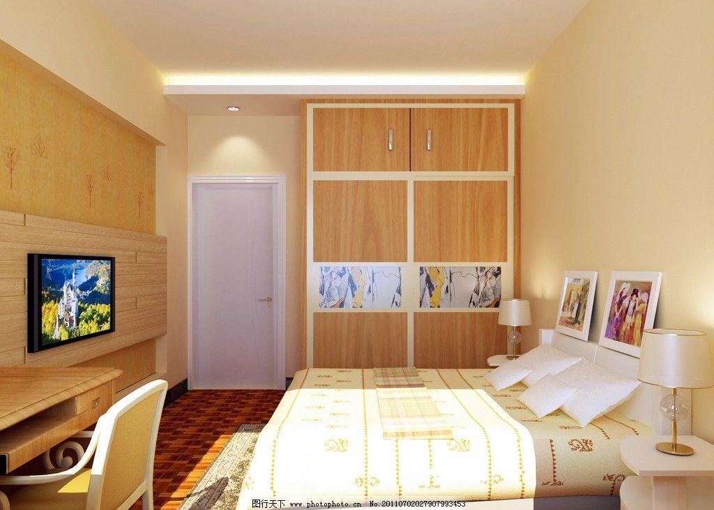 卧室效果图 3d室内效果图 桌椅 电视 床 室内设计 环境设计 设计 72