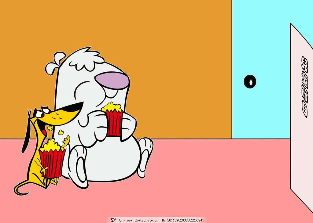 小白看电视 卡通 儿童 屋子 可爱 爆米花 源文件