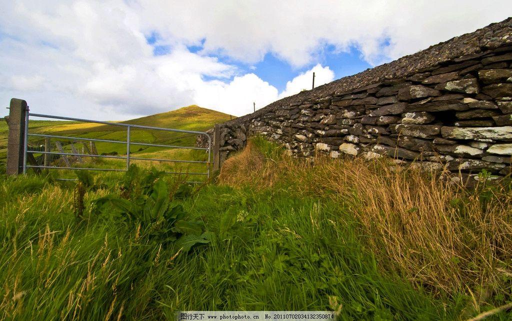爱尔兰风景 欧洲 爱尔兰 西欧国家 天然牧场的国家 蓝天 白云 树木