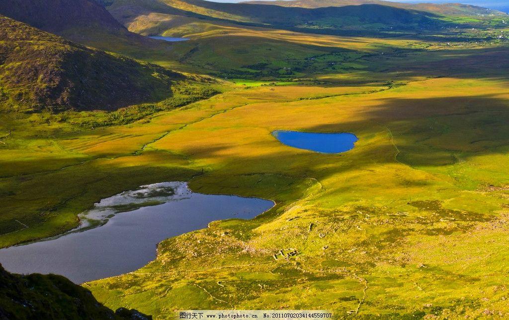 爱尔兰风景 欧洲 爱尔兰 西欧国家 山脉 蓝天 白云 草场 湖泊 风景