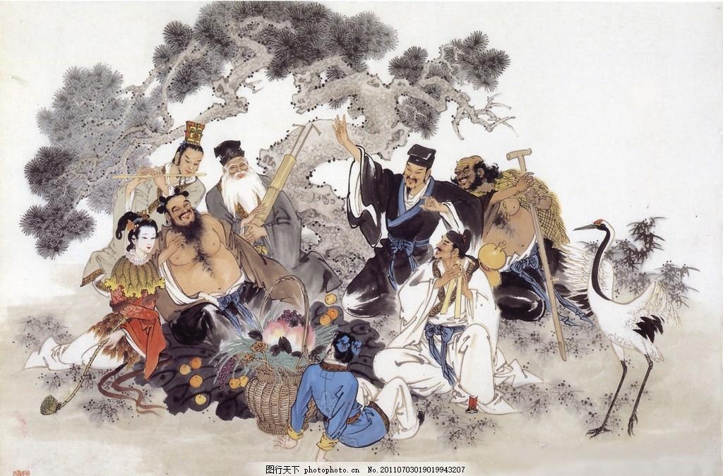 国画八仙图 国画 工笔 八仙图 传统 艺术 人物画 送树 仙鹤 绘画书法