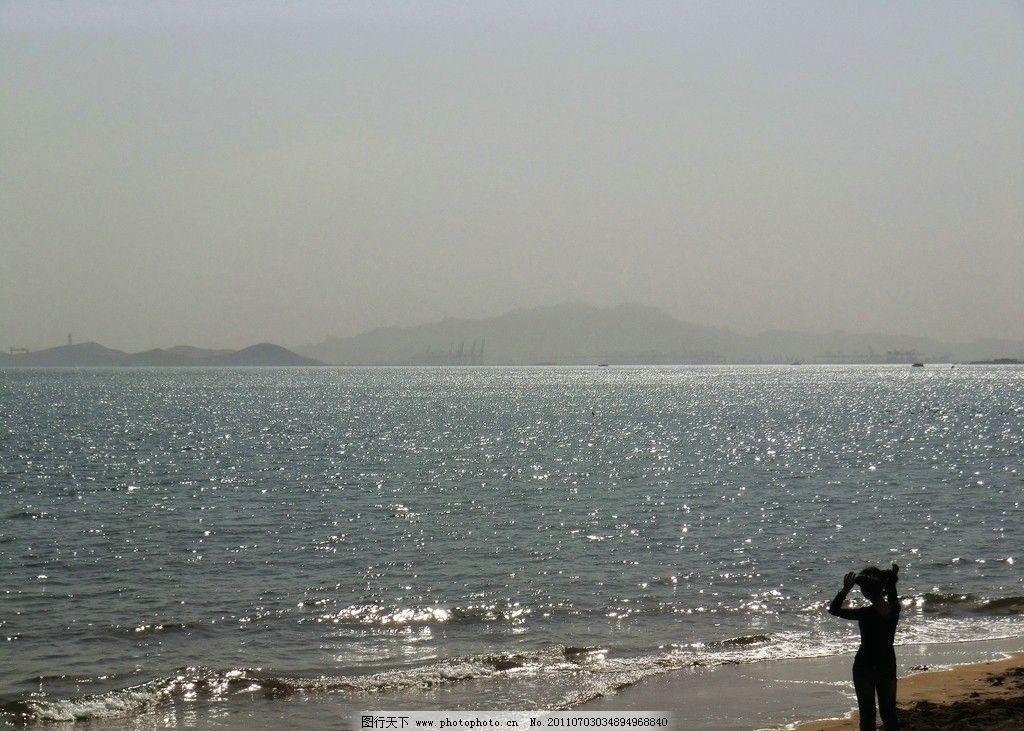 青島 海景 日落 攝影 海邊 沙灘 美女 背影 銀光閃閃 72dpi jpg 自然