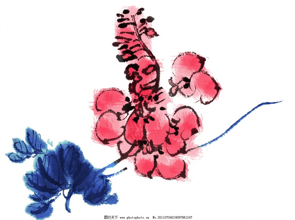 水墨画 国画 植物 水墨 国画小品 小写意 写意画 花 叶 红色花朵 花朵
