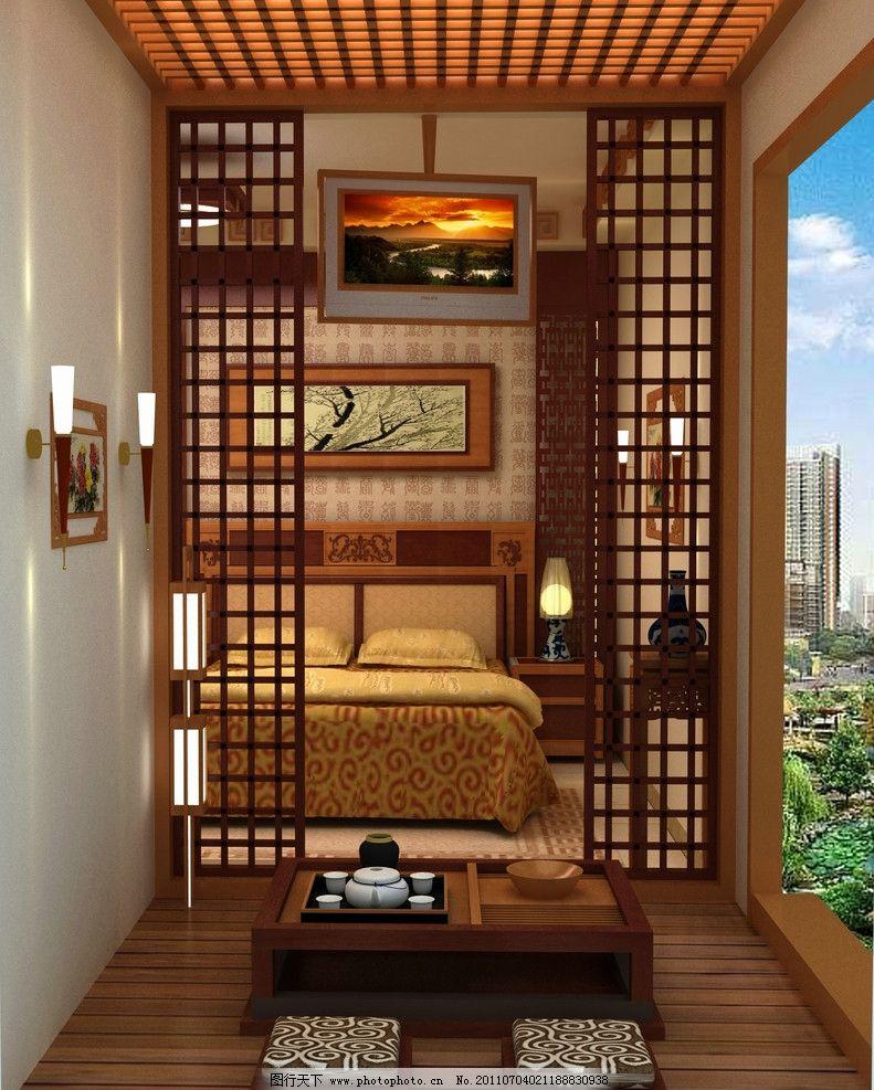 古典中式臥室 室內設計 中式臥室 古典 3d模型 茶臺 踏踏步 室內模型