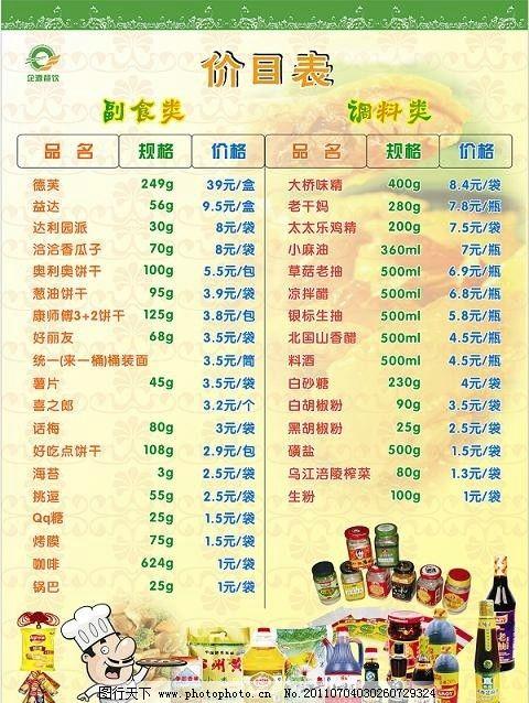 超市价目表图片