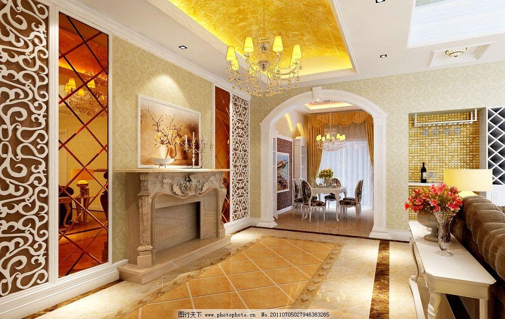 复式楼 欧式 简欧 走道 客厅 效果图 室内设计 环境设计 设计 300dpi