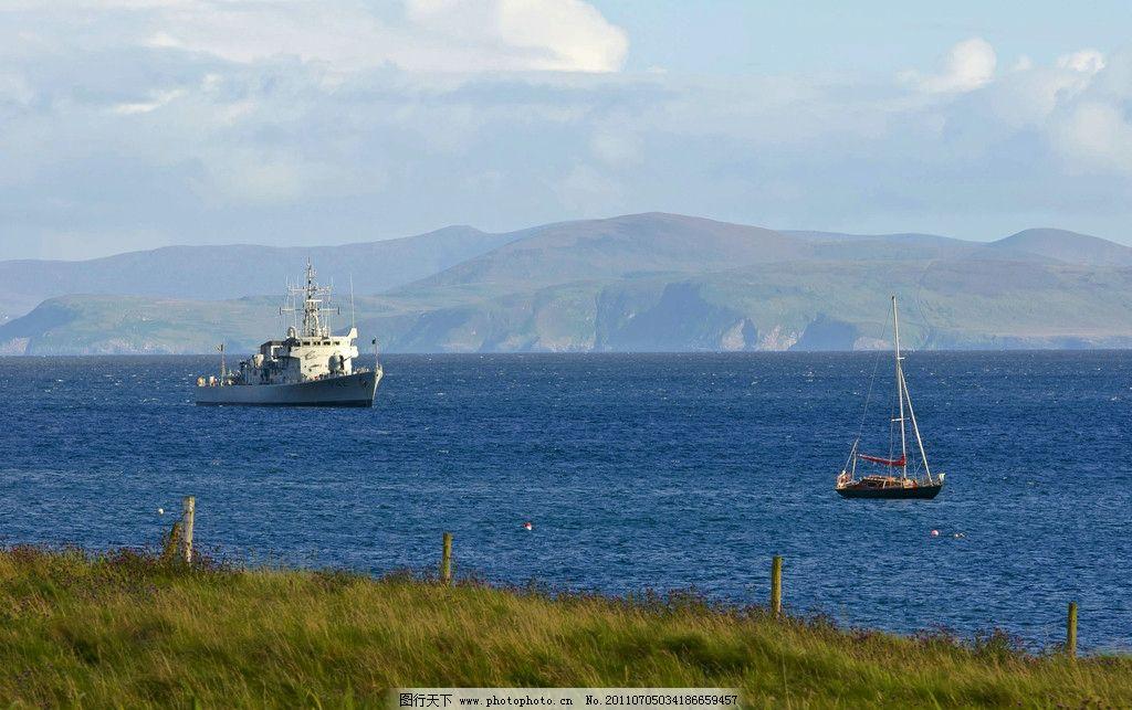爱尔兰风景 欧洲 爱尔兰 西欧国家 山脉 蓝天 白云 爱尔兰海海滩 海湾