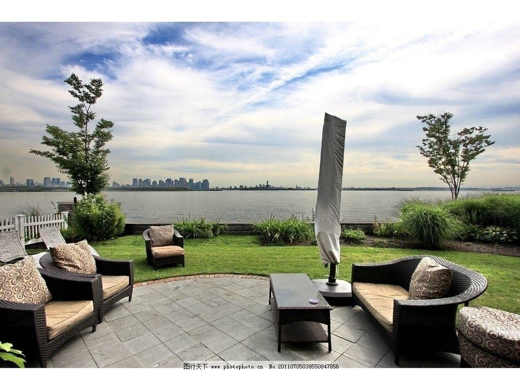 欧式江景 水边走廊 江景 海景 阳台 休闲椅 疗养 地产素材 欧式园林