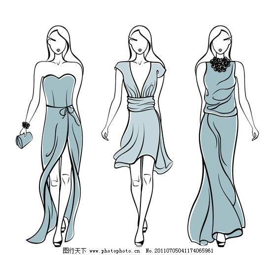 时尚女性服装 人模 模特 时装 手绘 素描 线条 人物 服装广告