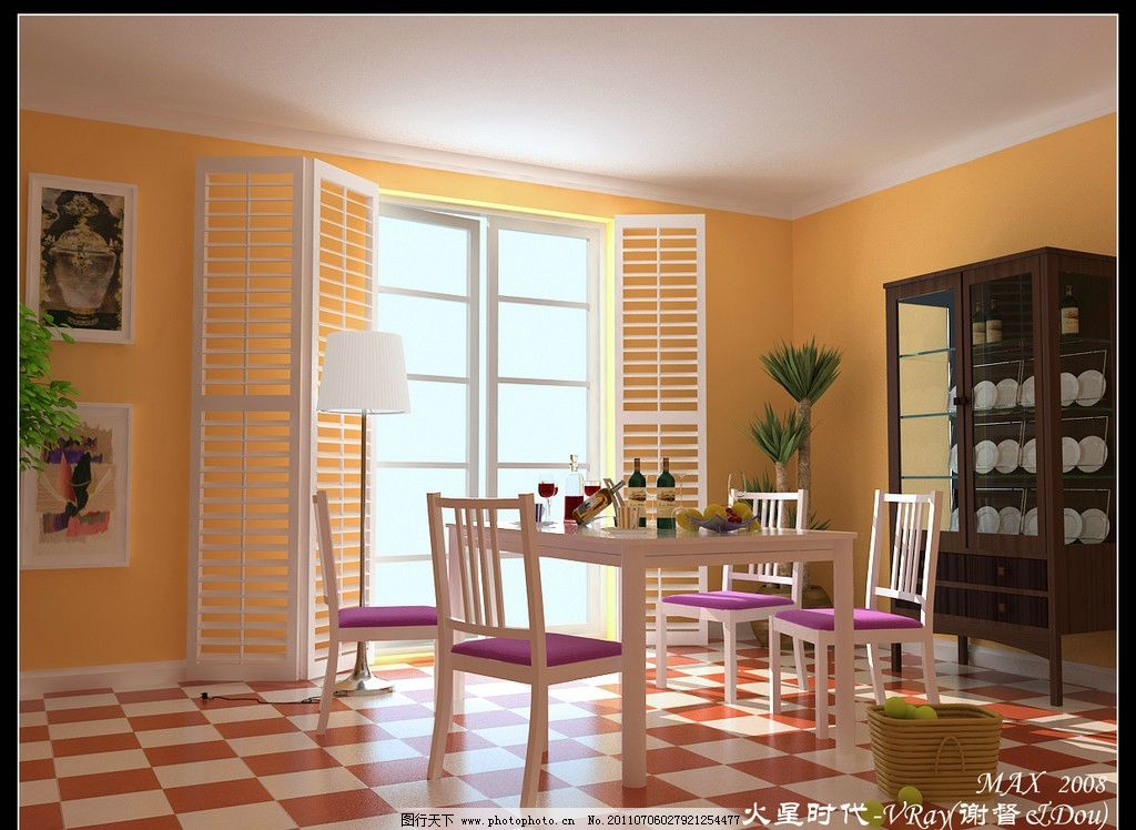 餐厅效果图 角线 餐桌 酒柜 装饰画 落地灯 室内设计 环境设计 设计图片