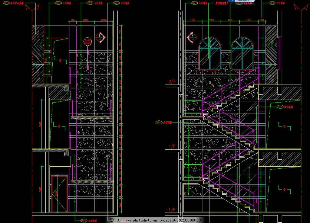 楼梯立面 图纸 平面图 装修 装饰 施工图 室内设计 楼层 住宅楼