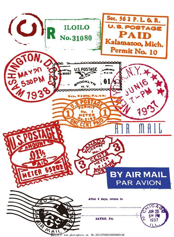 邮戳印章矢量素材集合图片