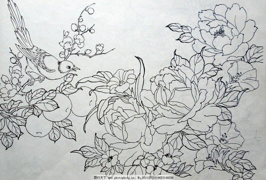 白描 传统 中国风 牡丹 国画 工笔 水墨 绘画书法 文化艺术 设计 72