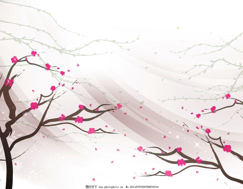 风中爱梅 风 树枝 梅花 灰色 移门图案 底纹边框 设计 72dpi jpg