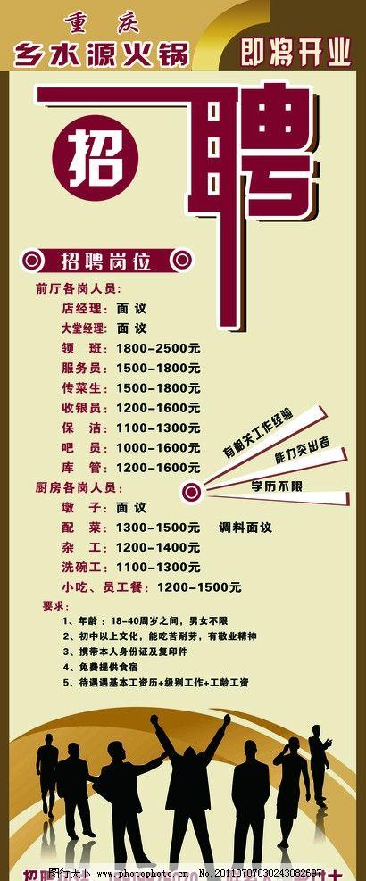 火锅店招聘易拉宝 艺术字 圆椭 人物 分层背景 剪影 招聘 展板 展板