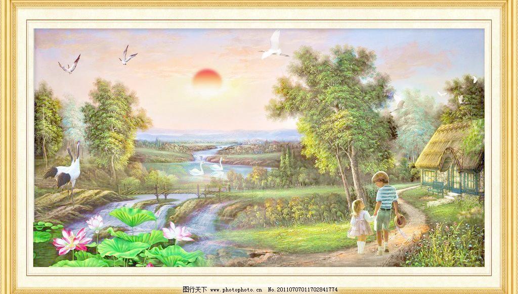 边框 大树 大厅画 飞鸟 风景 风景壁画 风景画 风景山水壁画 油画风景