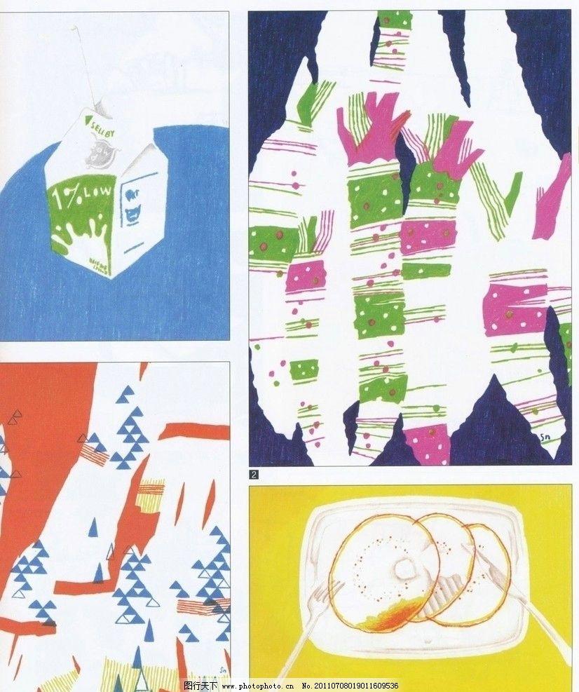时尚食物 日本 时尚 淡彩 食物 设计 牛奶 彩色 色彩 拼 画 手绘 绘画