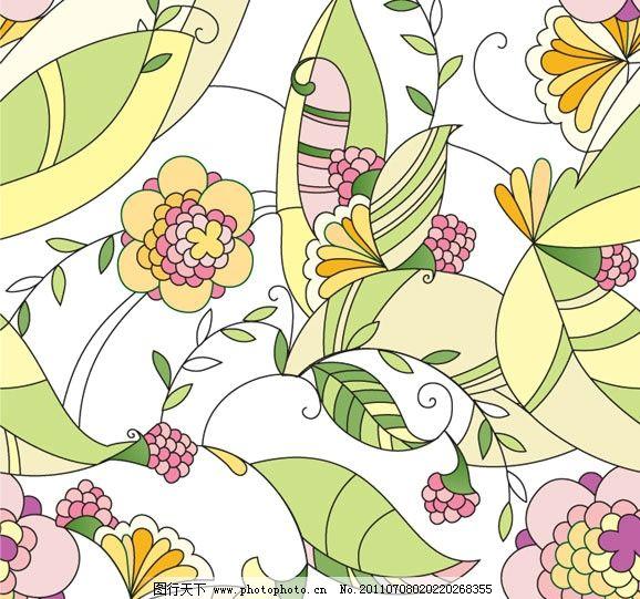 手绘无缝花纹背景 手绘 无缝 花纹 可爱 花朵 绿叶 鲜花 花边 花卉 纹