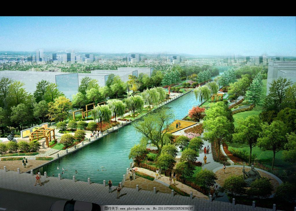 河道公园 绿化 鸟瞰素材 鸟瞰图 园林 爬藤 喷泉 背景植物群