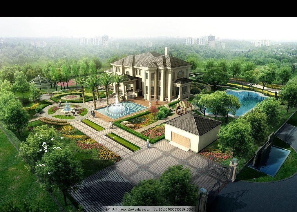 景观别墅 鸟瞰素材 建筑效果图 园林 绿化 爬藤 喷泉 背景植物群