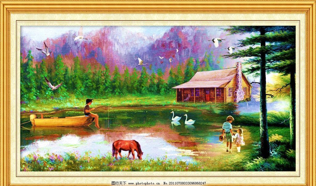 小房子 大树 油画人物 向日葵 鹿 仙鹤 牡丹 太阳 金秋 飞鸟 中堂壁画