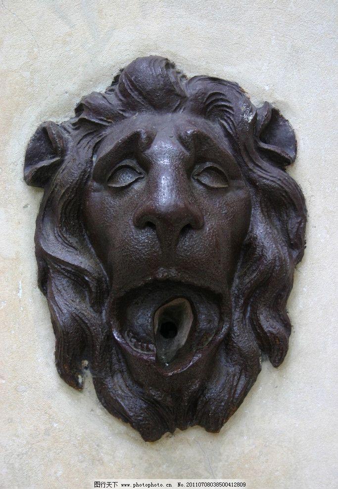 铜狮头 狮子 金狮 狮扣 狮头特写 欧洲传统文化 古典雕塑 欧式风格