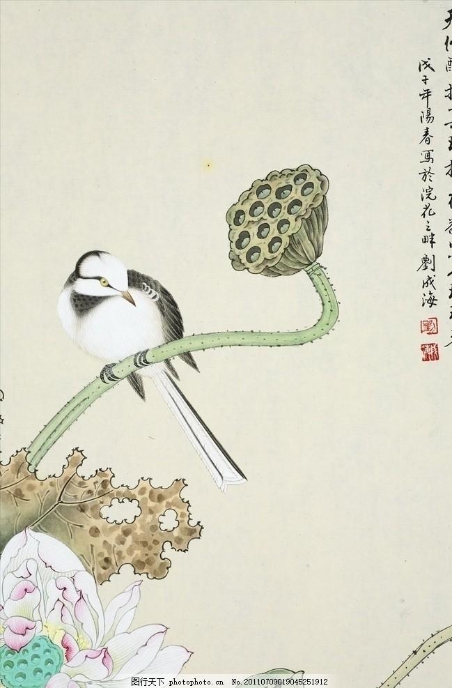 花鸟画之莲蓬 工笔 莲蓬 荷花 花鸟 绘画书法 文化艺术 设计 300dpi