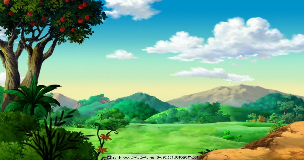 市郊 蓝天白云 远郊 正午 草地 果树 远山 风景漫画 动漫动画 设计