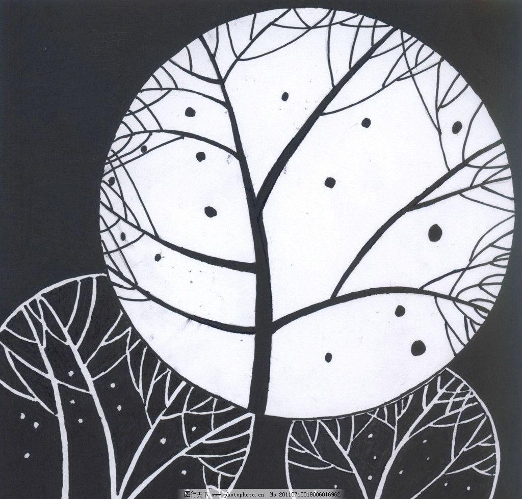 点线面综合构型 平面设计 平面构成 图底 黑白 夜晚 夜景 树木 月光