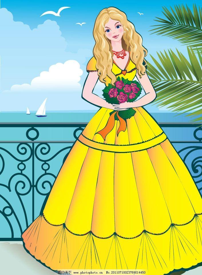 蓝天白云湖水边的公主 可爱 漂亮 美丽 清纯 天使 公主 女孩 人物