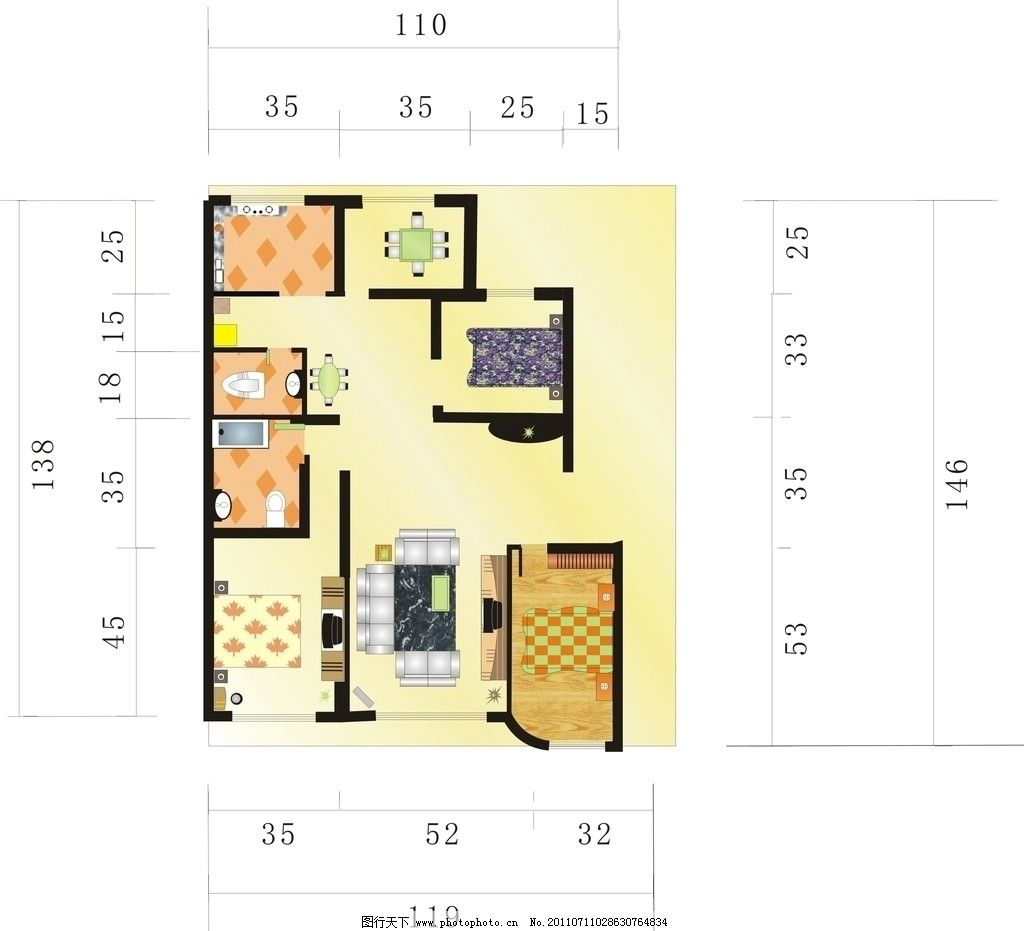 室内平面图 家具 床 房屋分配图 房屋效果图 家居家具 建筑家居 矢量