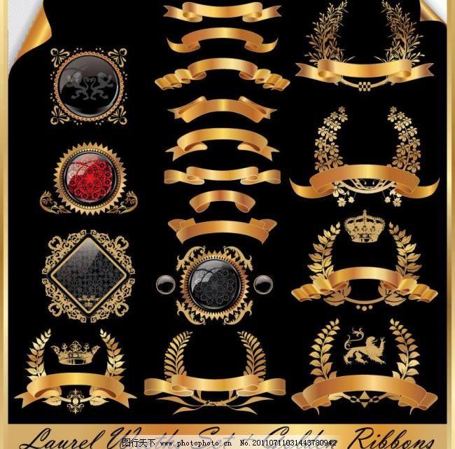金色欧式标签 麦穗 丝带图片