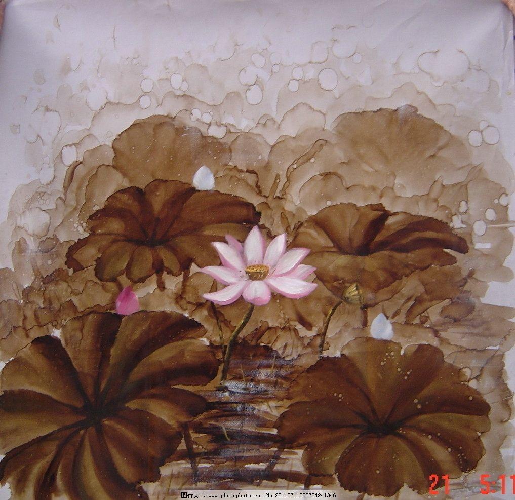 荷花 手绘 荷叶 水彩 油画 底纹 背景 佛教 传统 中国风 艺术 美术