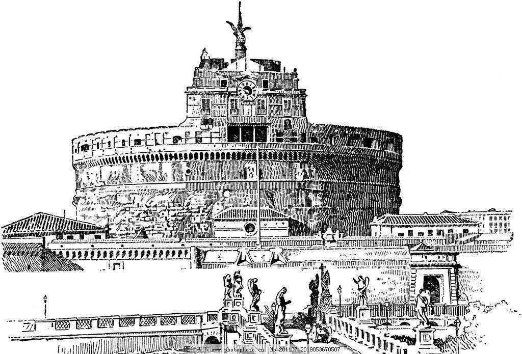 复古 钢笔画 欧式建筑 古堡 城墙 城堡 绘画书法 文化艺术 设计 240