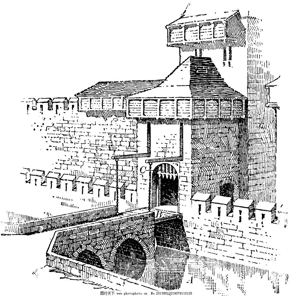 复古钢笔画 复古 钢笔画 欧式建筑 古堡 城墙 绘画书法 文化艺术 设计