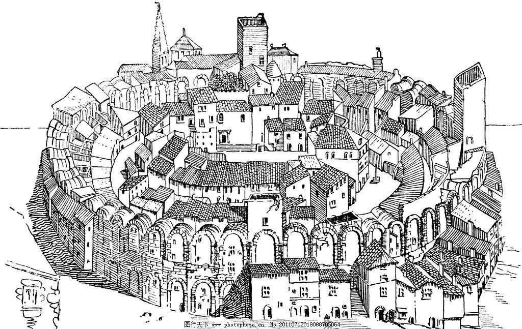 复古钢笔画 复古 钢笔画 欧式建筑 古堡 城墙 城堡 绘画书法 文化艺术