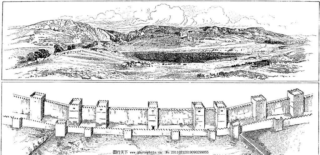 复古钢笔画 复古 钢笔画 欧式建筑 城墙 风景 山谷 绘画书法 文化艺术图片