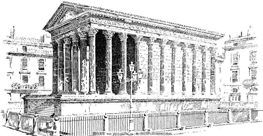 复古钢笔画 复古 钢笔画 欧式建筑 柱子 绘画书法 文化艺术 设计 240