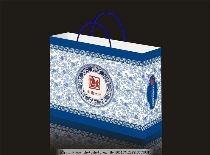 青花 手提袋 手袋 袋子 礼品袋 纸袋 cdr 包装设计 广告设计 矢量