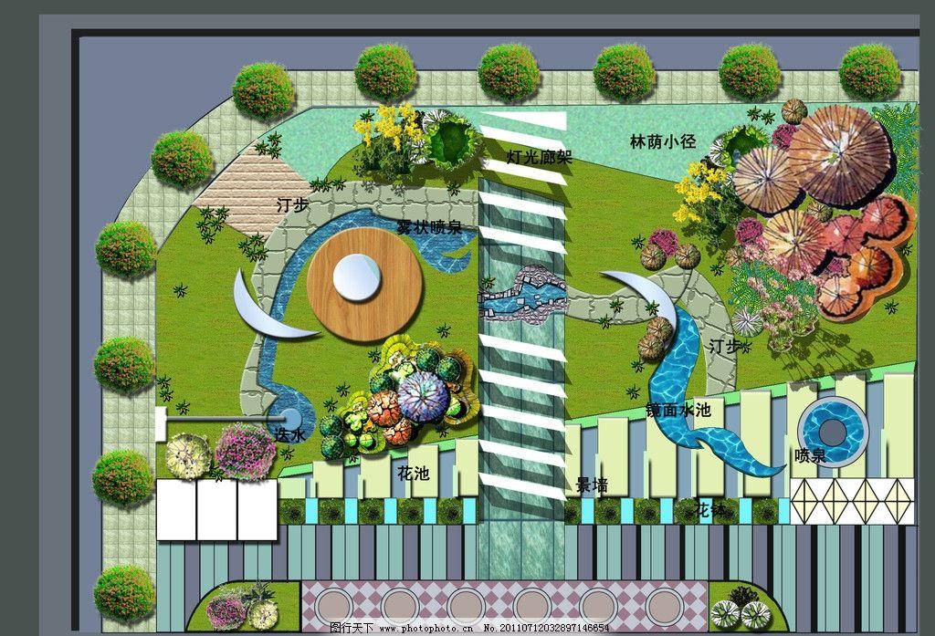公园平面 绿色植物 花 石头 小路 花园 水流 小河 景墙 林荫小径 镜面