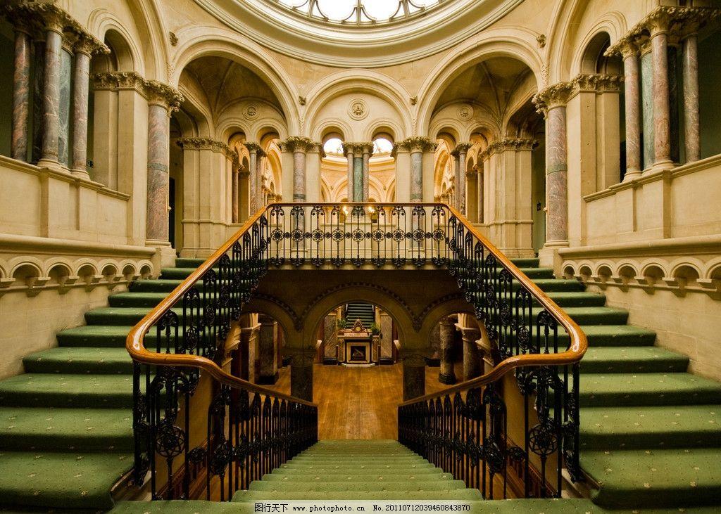 大楼梯 城堡 欧式城堡 绿色地毯 欧式装潢 西式古典装潢 图库 建筑