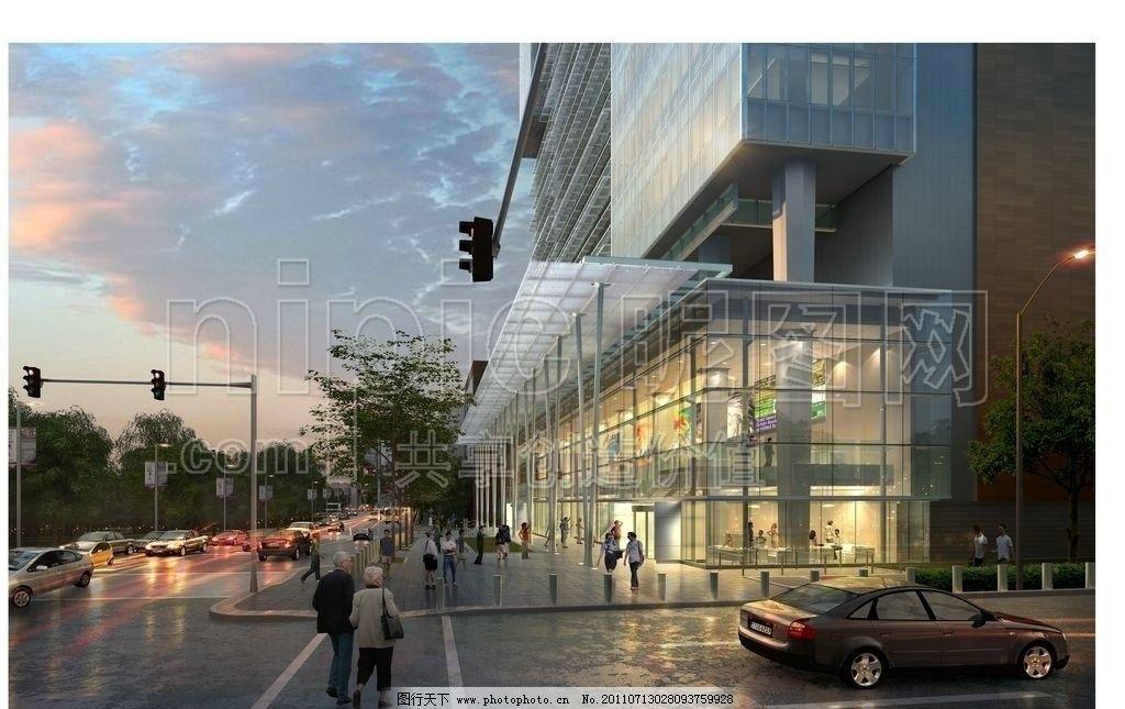 商业街区 购物广场 百货广场 商业街效果图 建筑效果图 建筑鸟瞰图 鸟