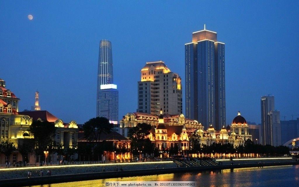 海河东岸新老建筑群 欧式建筑 现代建筑 高层建筑 袁氏旧宅 天津塔