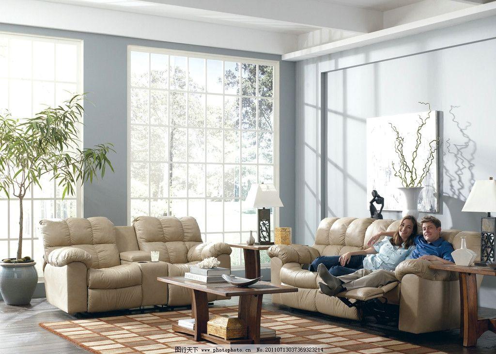 休闲沙发 沙发 外国 美女 坐 卧 茶几 落地窗 树 背景 家居生活 生活